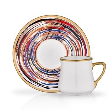 Glore Tarabya Adrianna 6'Lı Kahve Seti Renkli